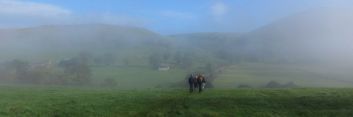 Walking in the mist in Dovedale